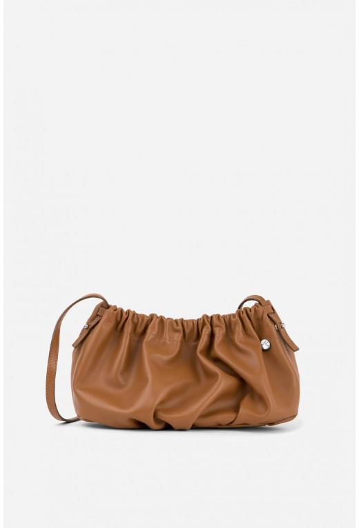 Кросбоді CLOUD BAG  з карамельної шкіри /срібло/