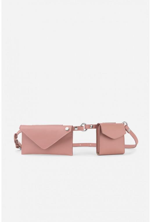 Belt Combo з рожевої гладкої шкіри /срібло/