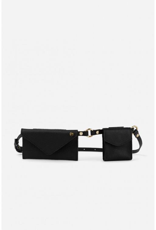Belt Combo з чорної шкіри флотар /срібло/