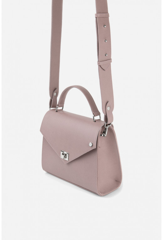 Портфель MITTE GRANDE MINI з сіро-рожевої фактурної шкіри /срібло/