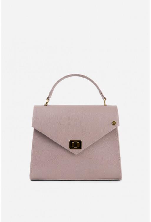 Портфель MITTE GRANDE MINI з сіро-рожевої фактурної шкіри /золото/