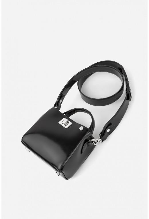 Портфель ERNA MICRO з чорної глянцевої шкіри /срібло/