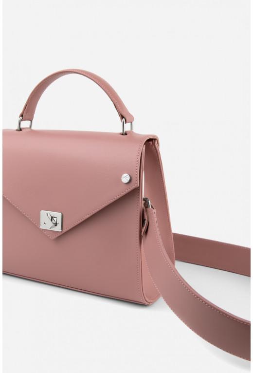 Портфель MITTE GRANDE MINI  з рожевої шкіри саф'яно /срібло/