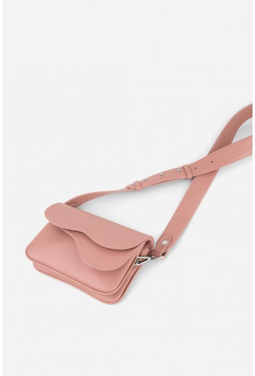 Кросбаді Saddle bag mini з рожевої гладкої шкіри /срібло/
