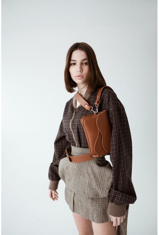 Кросбаді Saddle bag mini з терракотової гладкої шкіри /срібло/