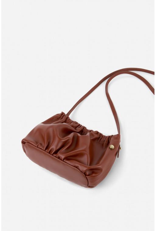 Кросбоді CLOUD BAG з коричневої шкіри /золото/