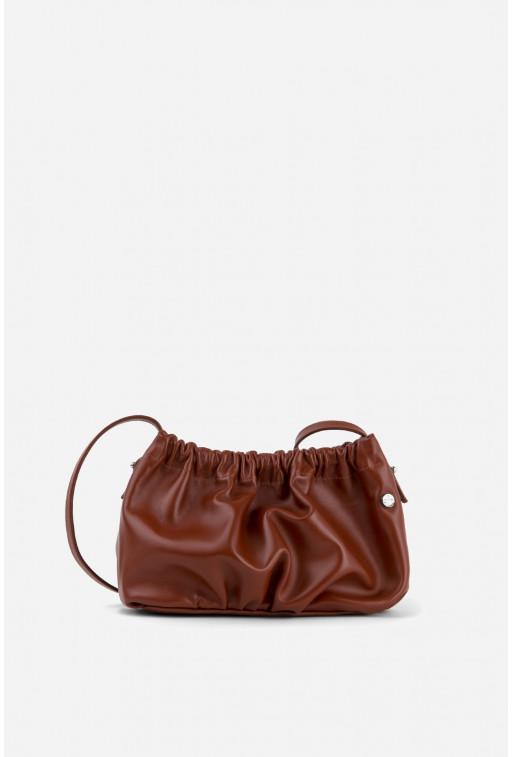 Кросбоді CLOUD BAG з коричневої шкіри /срібло/