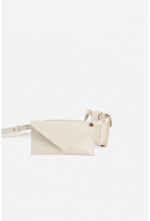 Belt Combo з молочної фактурної шкіри /золото/