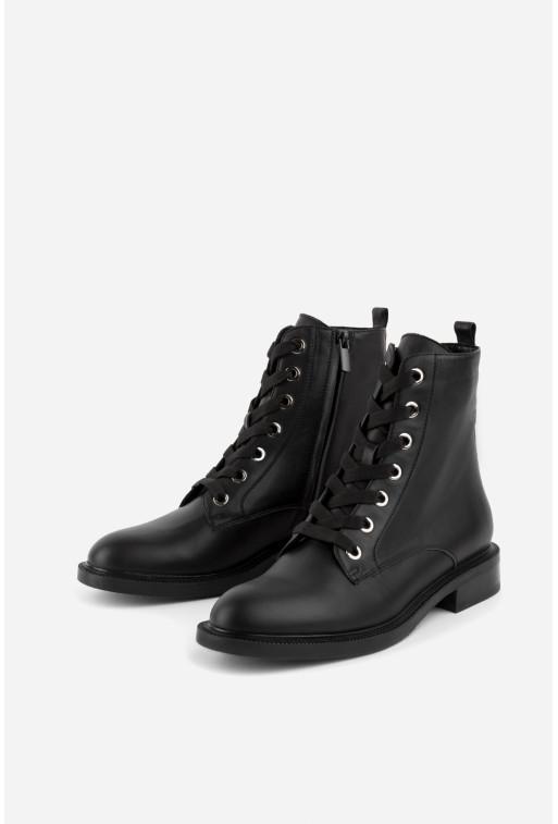 Черевики чорні шкіряні  на блискавці та шнурівці