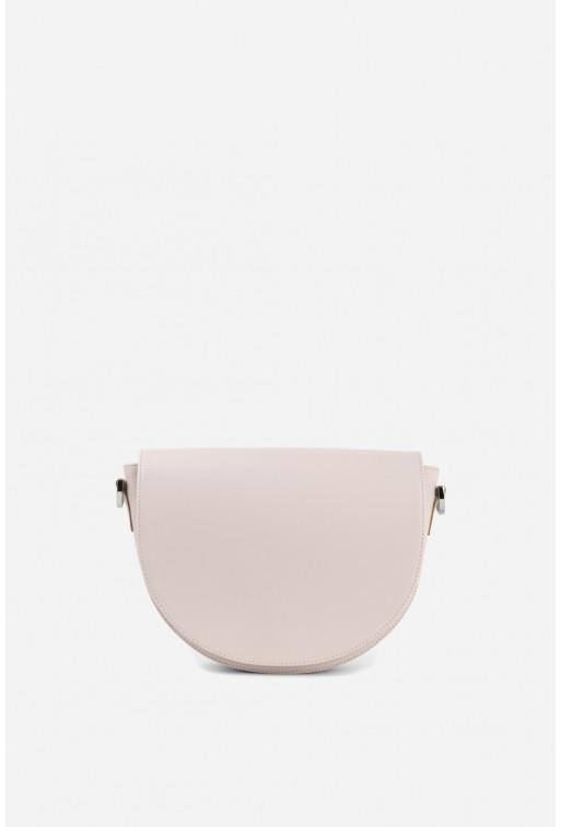 Кросбоді HALF MOON з блідо-рожевої гладкої шкіри /срібло/