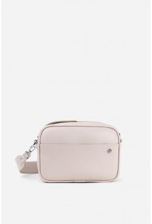 Кросбоді BRICK BAG  з блідо-рожевої шкіри /срібло/
