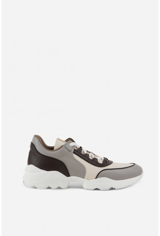 Кросівки сіро-коричневі шкіряні комбіновані