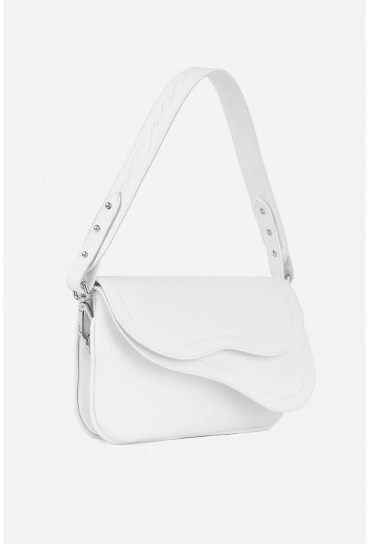 Кросбоді SADDLE BAG 2 з білої гладкої шкіри /срібло/