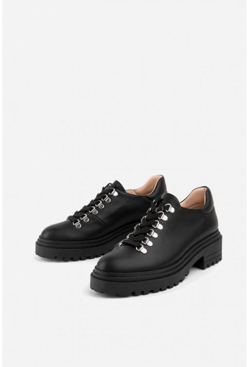 Черевики чорні шкіряні  низькі на шнурівці