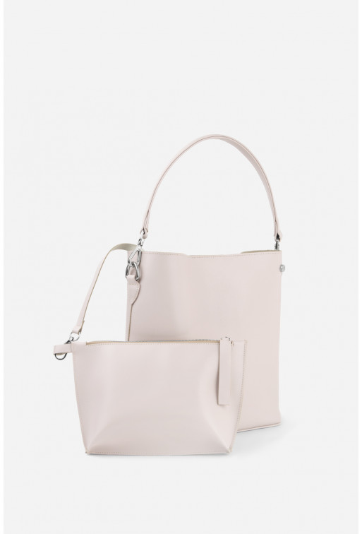Шопер BOOK BAG  з блідо-рожевої гладкої шкіри /срібло/