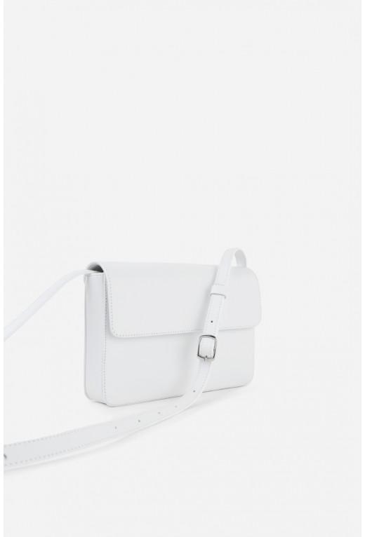 Кросбоді CARRIE з білої гладкої шкіри /срібло/