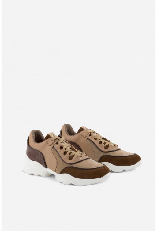 Кросівки бежево-коричневі шкіряні комбіновані