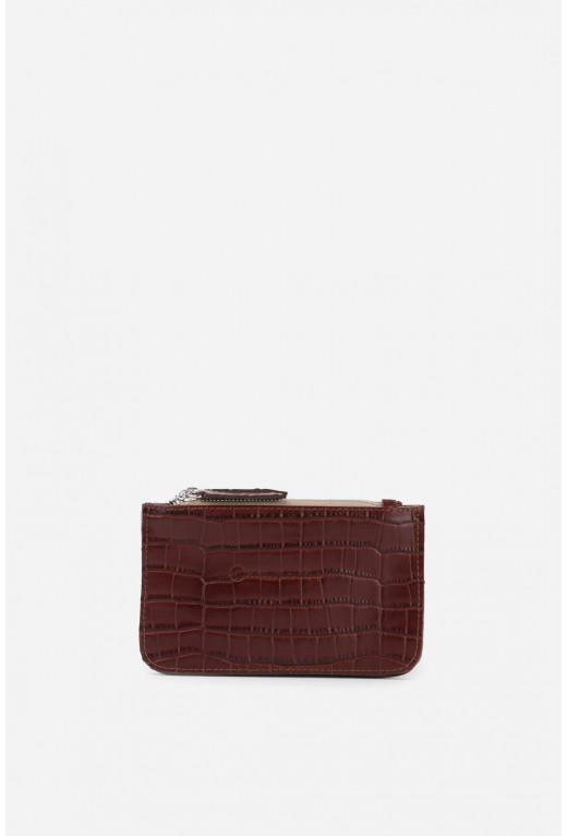 Гаманець Double Zip Wallet  з бордової тисненої шкіри /срібло/