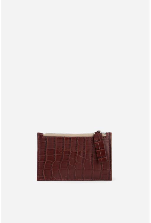 Гаманець Zip Wallet  з бордової тисненої шкіри /срібло/