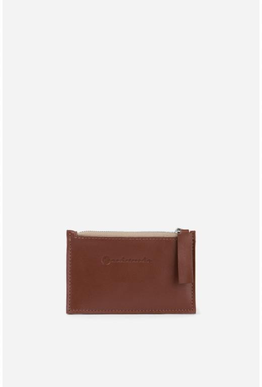 Гаманець Zip Wallet  з коричневої гладкої шкіри /срібло/