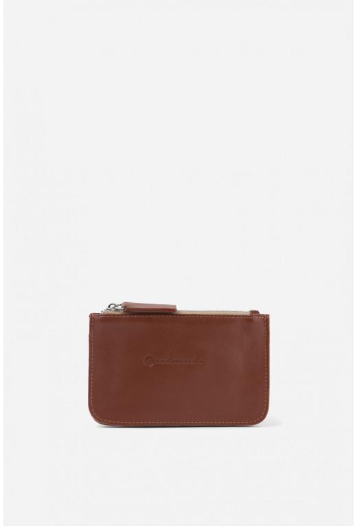 Гаманець Double Zip Wallet  з коричневої гладкої шкіри /срібло/
