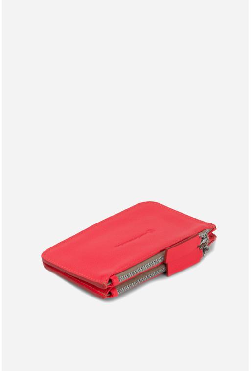 Гаманець Double Zip Wallet  з яскраво-червоної шкіри /срібло/