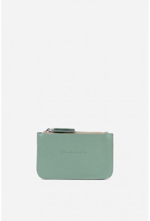 Гаманець Double Zip Wallet  з м'ятної шкіри /срібло/