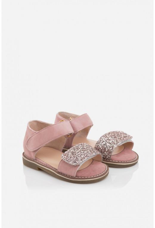 Сандалі дитячі  рожеві замшеві на липучках