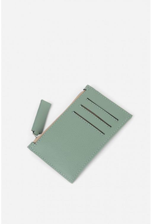 Гаманець Zip Wallet  з м'ятної шкіри /срібло/