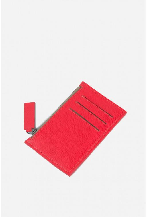 Гаманець Zip Wallet  з яскраво-червоної шкіри /срібло/