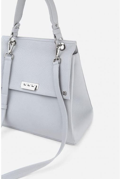 Портфель BAG WOMANX2 з сірої шкіри флотар /срібло/