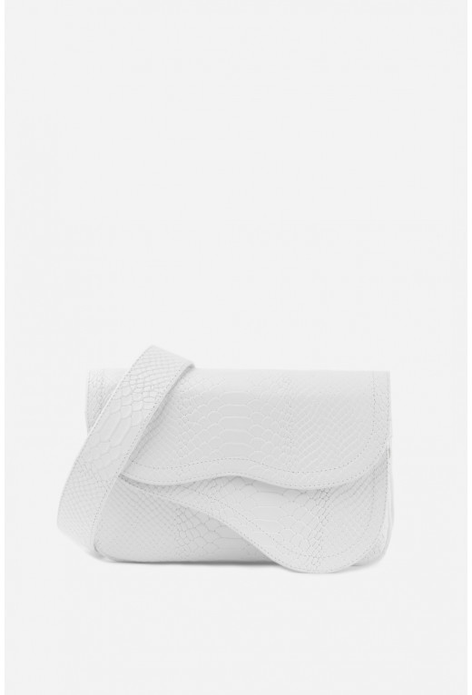 Кросбоді SADDLE BAG 2 з білої тисненої шкіри /срібло/