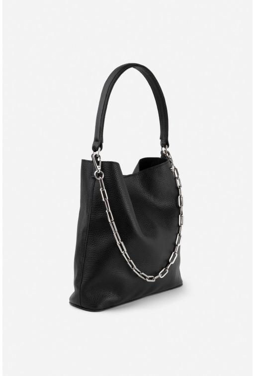 Шопер BOOK BAG 2 з чорної шкіри флотар /срібло/