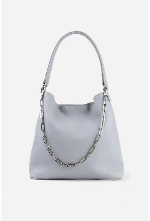 Шопер BOOK BAG 2 з сірої шкіри флотар /срібло/