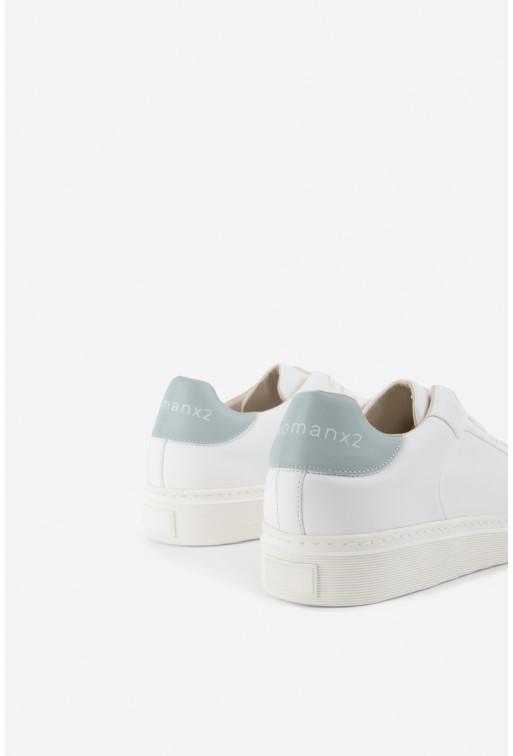 Кеди WOMANX2 білі шкіряні на шнурках