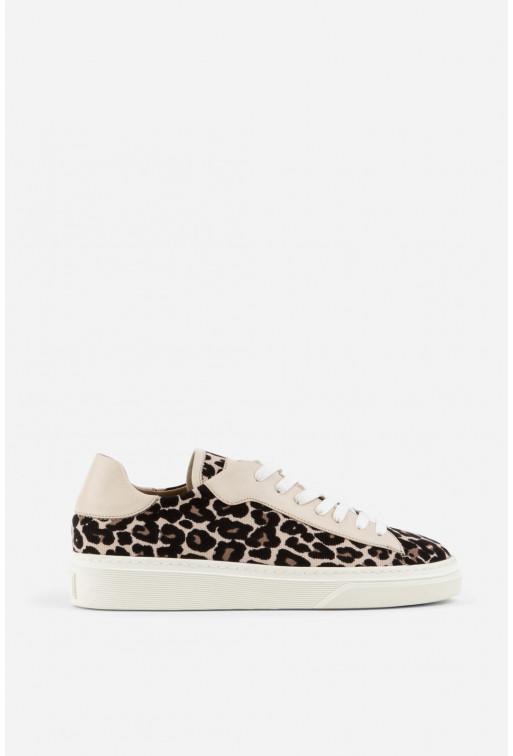 Кеди Emma леопардові молочні шкіряні на шнурках
