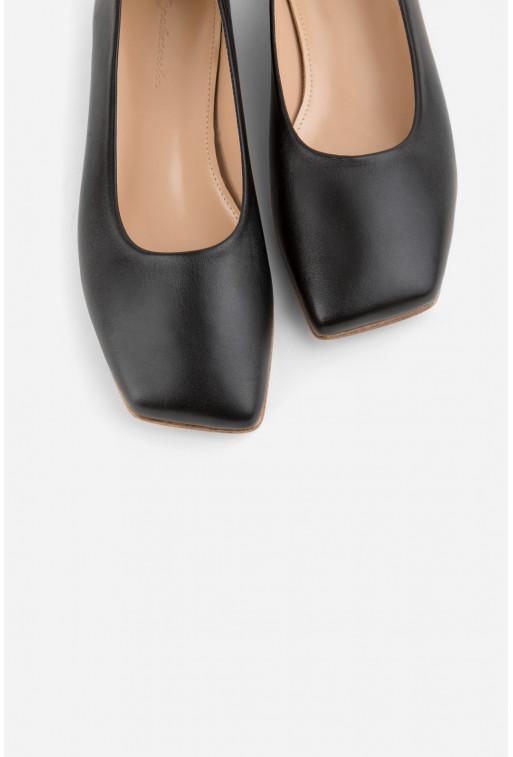Балетки Yana чорні шкіряні з квадратним носком