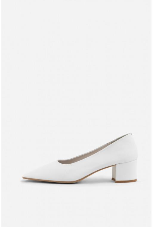 Туфлі Elizabeth білі шкіряні з квадратним носком