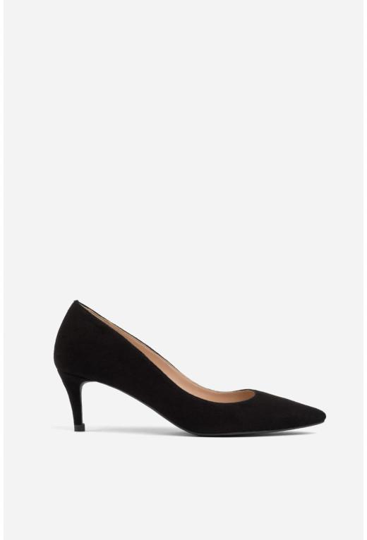 Лодочки чорні замшеві  kitten heels /5 см/