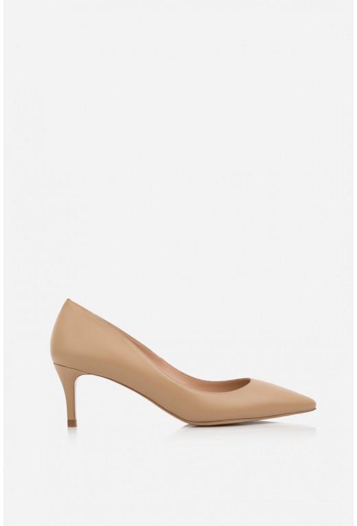 Лодочки бежеві шкіряні  kitten heels /5 см/