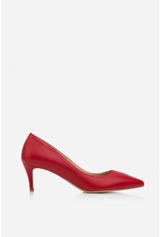 Лодочки червоні шкіряні  kitten heels /5 см/