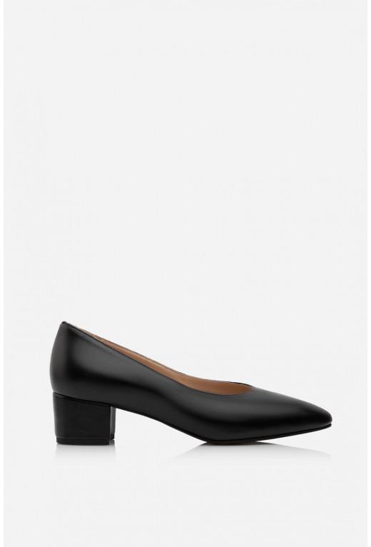 Туфлі ELINE чорні шкіряні  чорна підошва /4 см/