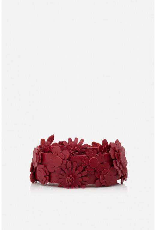 Наплічна ручка з квітами  червона шкіряна /срібло/