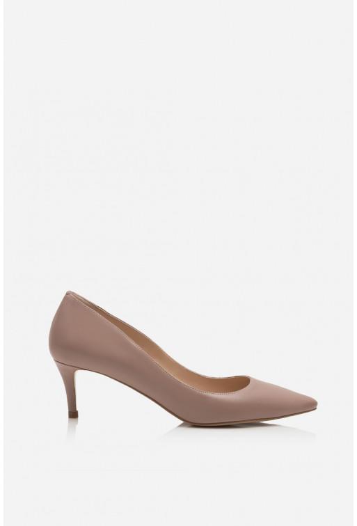 Лодочки нюдові шкіряні kitten heels /5 см/