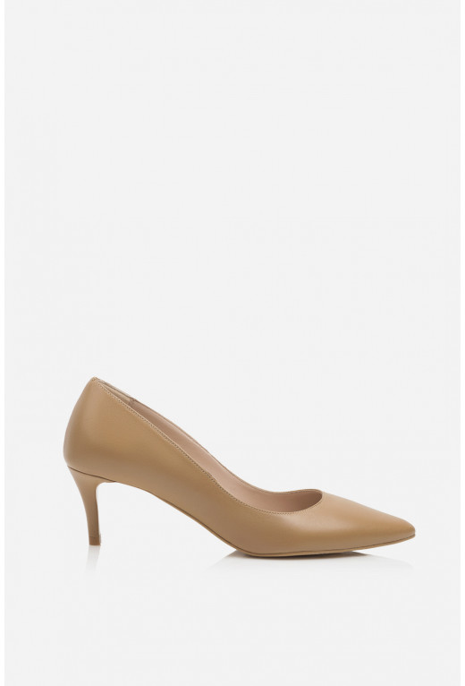 Лодочки темно-бежеві шкіряні  kitten heels /5 см/