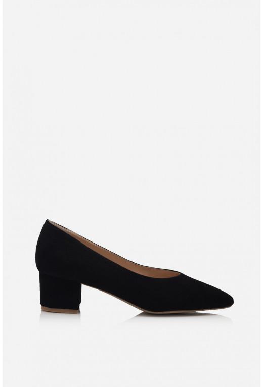 Туфлі ELINE  чорні замшеві /4 см/