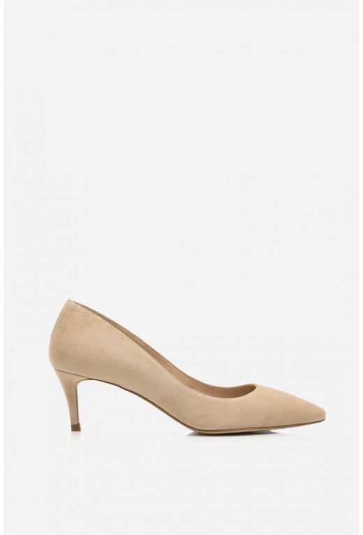Лодочки бежеві замшеві  kitten heels /5 см/