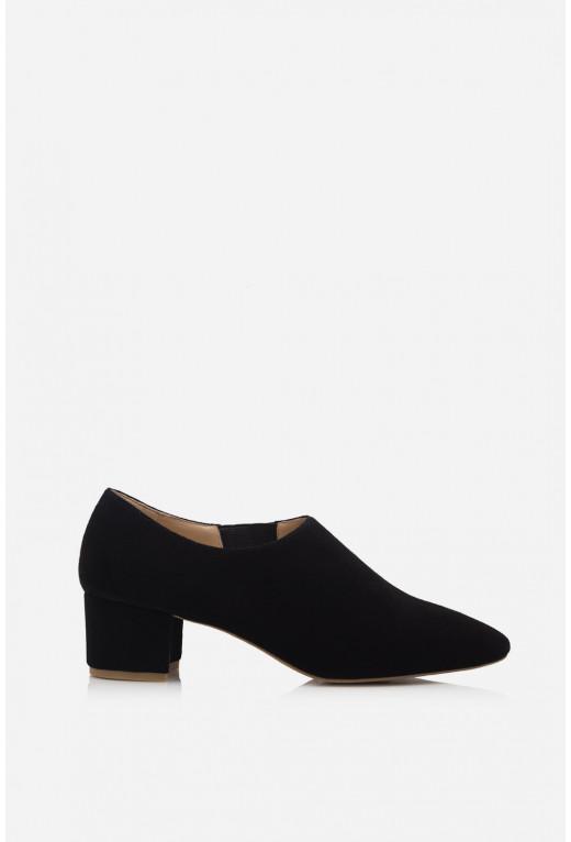Туфлі ELINE чорні замшеві  закриті /4 см/