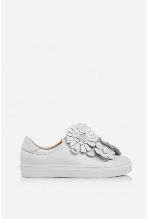 Кеди білі шкіряні  на липучках з квітами