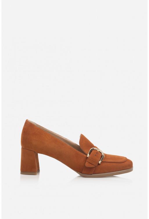 Туфлі-лофери темно-помаранчеві  замшеві з пряжкою /5 см/